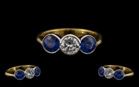 Art Deco Period Good Quality and Pleasing 18ct Gold Three Stone Sapphire and Diamond Set Ring rub