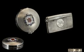 Ladies 1930's Masonic Engine Turned Silver and Enamel Circular Compact.