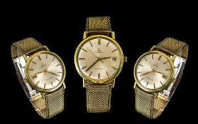 Omega - Geneve Gold on Steel Gents 1960's Date-Just Automatic Wrist Watch with Original Gold Tone