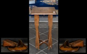 """Small Oak - Arts & Crafts Square Topped Urn Table 25"""" High,"""