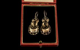 Pair Of Victorian Drop Earrings Pressed Gilt Metal Hollow Faceted Earrings, Each With Reg Marks,
