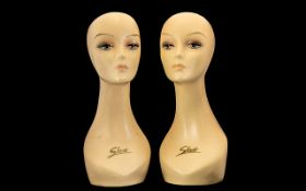 Pair of Mannequin Vintage Heads lovely style and size.