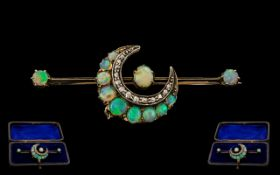 Victorian Period - Gold Set Superb Diamond and Opal Set Crescent Moon Brooch of Wonderful Form and
