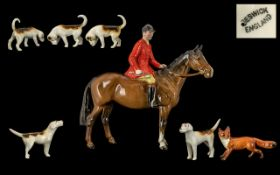 Beswick - Hand Painted Huntsman and Horse Figure with Foxhounds and Fox ( 7 ) Figures.