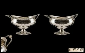George III Superior Quality Pair of Large and Impressive Twin Handled Sugar Bowls with shaped and