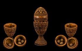 Victorian Treen Carved Nut in the shape of an egg with a screw thread, 2 1/2''. Decorated to body