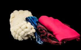 Collection of Quality Scarves four in total: comprising a new deep pink long winter scarf double
