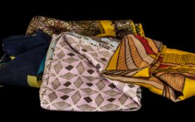 Collection of Vintage Silk Scarves five in total,various colours and designs, unlabelled. Comprising