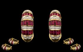 18ct Gold Attractive Pair of Ruby & Diamond Set Earrings. The rubies of excellent rich red colour.