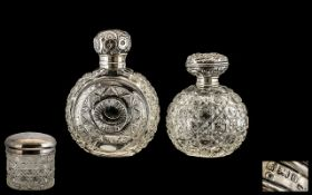 Two Silver Topped Scent Bottles Globular Hobnail Design, Both Without Stoppers,