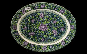 """Large & Decorative Oval Platter 18"""" x 14"""" decorated in attractive shades of blue and lilac floral"""