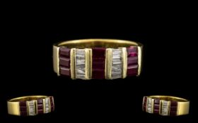 Contemporary Designed 18ct Gold - Attractive Ruby and Diamond Set Dress Ring, Marked 18ct.