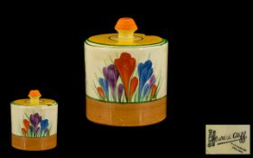 Clarice Cliff Hand Painted Lidded Preserve Pot ' Crocus ' Pattern. c.1929. 4 Inches - 10 cm High.