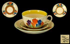 Clarice Cliff 1930's Hand Painted Cup and Saucer + A Matching Small Saucer ' Crocus ' Pattern.