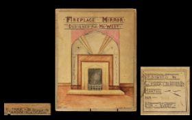Blackpool Interest - Original Watercolour 'Mr West's Mirror Fireplace'. Original watercolour drawing