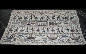 Peruvian Antique Hand Stitched South American Tapestry Covering, depicting Lamas, with figures