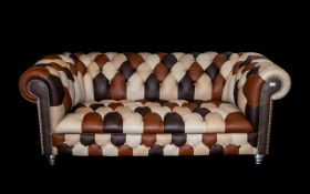 Fine Quality Full Hide ( 3 ) Seater Chesterfield Patchwork Sofa Buttoned Back Seats and Arms,