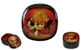 Tea For Two Authentic Hand Painted Russian Lacquered Box Fine detail to dress.