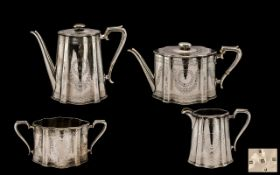 Victorian Period Top Quality Sterling Silver 4 Piece Tea & Coffee Service of pleasing design and