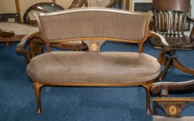 Mahogany Settee, Edwards and Parlour upholstered back, with open arms on cabriole legs,