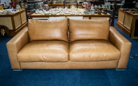 Quality Large Luxury Leather Sofa by Natuzzi in light tan leather.