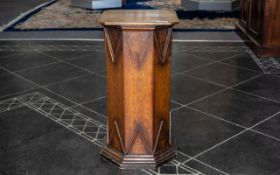 """Victorian Oak Pedestal in the Gothic Manner, the square shaped top with canted corners. Height 23""""."""