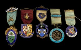 Masonic Interest - A fine collection of hallmarked silver and enamel Masonic Medals (5) in total. 1.