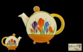 Clarice Cliff Hand Painted Bonjour Teapot ' Crocus ' Design. Date 1929. Height 5.5 Inches - 13.