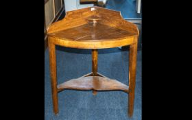 Country Beechwood Stained Corner Wash Stand , Demi Lune Corner Shaped with shaped shelf below.