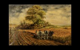 Oil Painting on Canvas depicting a farmer ploughing with cart horses,