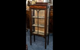 Edwardian Single Door Cabinet with astral glazed front with a painted top panel below a shaped
