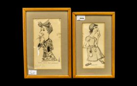 Pair of Emmwood Signed Ink Cartoon Drawings titled 'Street Cry Seeker Marjory Dunkel,