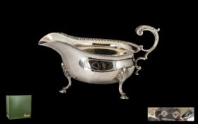 Silver Sauce Boat Dated London 1992 of typical antique shape, weight 6ozs. Please see images.