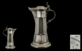 Kayserzinn Germanic Style Hammered Pewter Flagon No. 4006. Excellent proportions, Circa 1890.