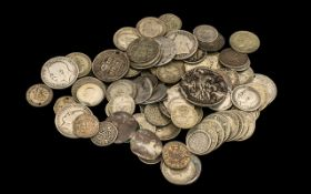 Bag of Mixed Silver English Coins including Victorian, Georgian, Shillings etc.