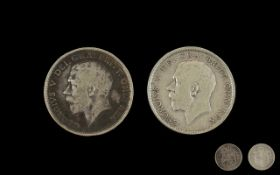 Two George V 1915 Half Crowns in fine condition. Please see images.