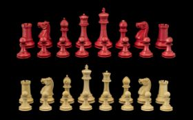 Antique Period Staunton Pattern/Design Well Carved Ivory Chess Set one set stained red the other