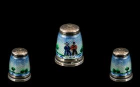 Enamel Silver Thimble circa early 20th/late 19th century. Lovely quality and condition.