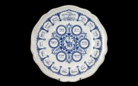 Spode Bone China Passover Plate. Blue Litho 'The Order of the Service'. Please see images.