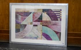Richard Hall Listed Modern Abstract Large Print. Cubistic designs, highlighted in gold. Pencil