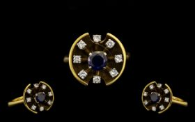 18ct Gold Attractive & Well Designed Diamond & Sapphire Set Dress Ring.