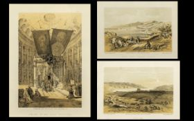 Set of Three David Roberts Antique Coloured Prints of the Holy Land - Jericho, Shrine of the Holdy