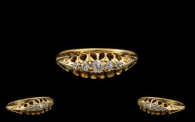 18ct Gold Attractive Edwardian Period 5 Stone Diamond Set Ring in a gallery setting.