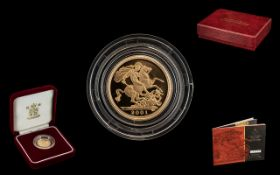 United Kingdom Gold Proof 2001 Half Sovereign. Ltd Edition of 7,500 - This Coin Is No 2717.
