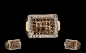 Gents 14ct Rose Gold Excellent Quality Diamond Set Cluster Ring of attractive design and form.