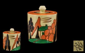 Clarice Cliff Hand Painted 1930's Lidded Preserve Pot ' Fantasque ' Range ' Trees and House '