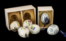 Collection Of Six Royal Copenhagen Porcelain Easter Eggs, In Four Boxes,