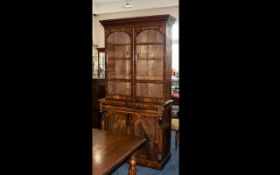 Mahogany Double Library Door Glazed Bookcase Cupboard with arch shaped doors to the top.