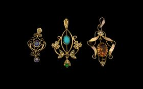 Antique Period - Ornate Open Work 9ct Gold Stone Set Pendant. c.1910.
