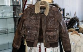Brown Leather Superdry Flying Jacket with sheepskin collar, zip front,
